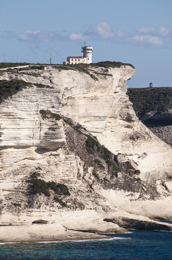 Corsica, Bonifacio, lighthouse, Strait of Bonifacio, beach, Mediterranean Sea, limestone, cliff, rocks, Bouches de Bonifacio stock photo