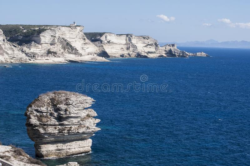 Corsica, Bonifacio, Strait of Bonifacio, beach, Mediterranean Sea, limestone, cliff, rocks, Bouches de Bonifacio stock photos
