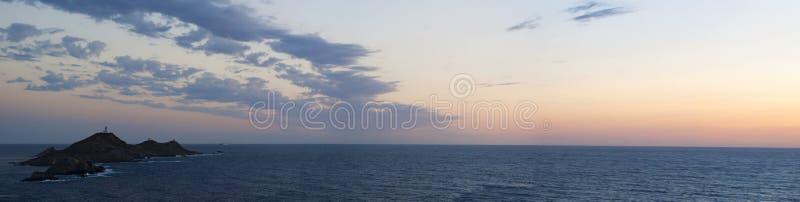 Iles Sanguinaires, Gulf of Ajaccio, Corsica, Corse, France, Europe, island. Corsica, 01/09/2017: the breathtaking sunset on the Iles Sanguinaires, the Bloody stock photography