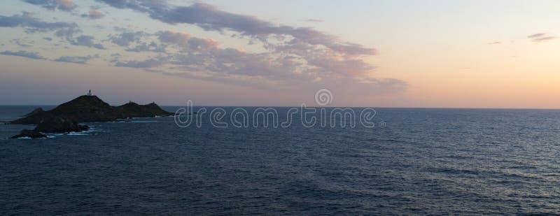Iles Sanguinaires, Gulf of Ajaccio, Corsica, Corse, France, Europe, island. Corsica, 01/09/2017: the breathtaking sunset on the Iles Sanguinaires, the Bloody royalty free stock photo