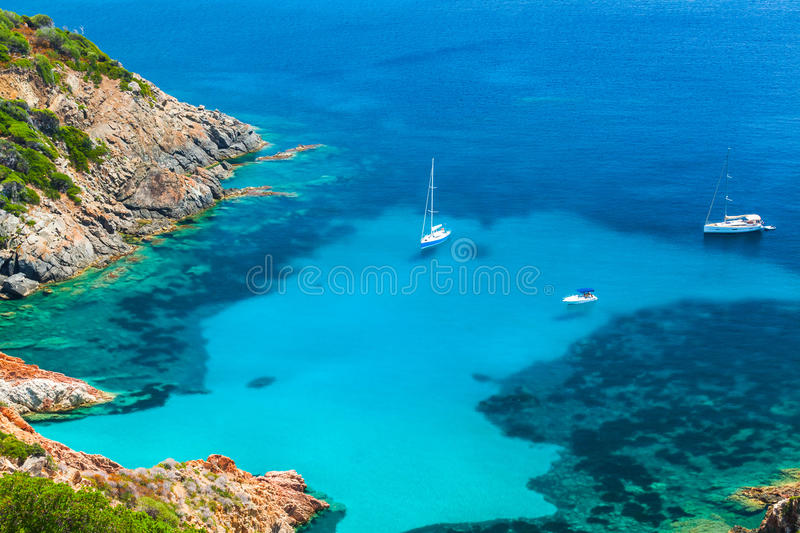Corsica, Coastal summer landscape with yachts stock images