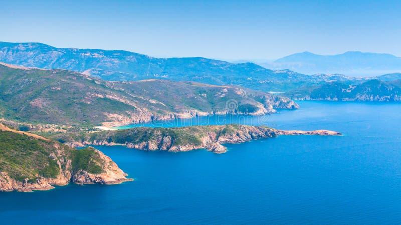 corsica Corse-du-Sud Piana regionlandskap royaltyfria foton