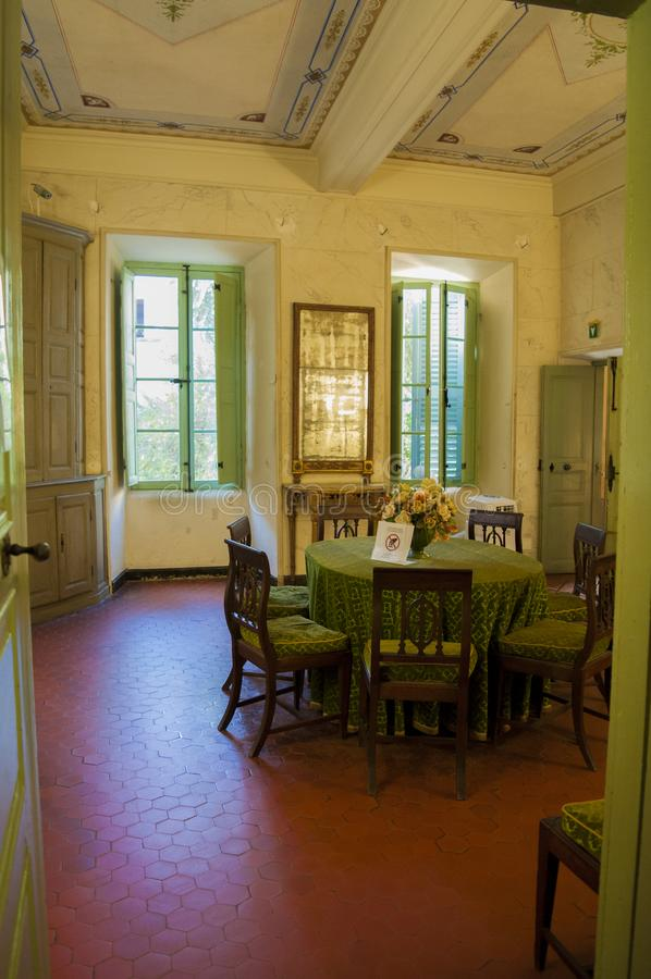 Ajaccio, Citadel, Maison Bonaparte, Corsica, Corse du Sud, Southern Corsica, France, Europe. Corsica, 01/09/2017: the dining room of Napoleon Bonaparte at the stock image