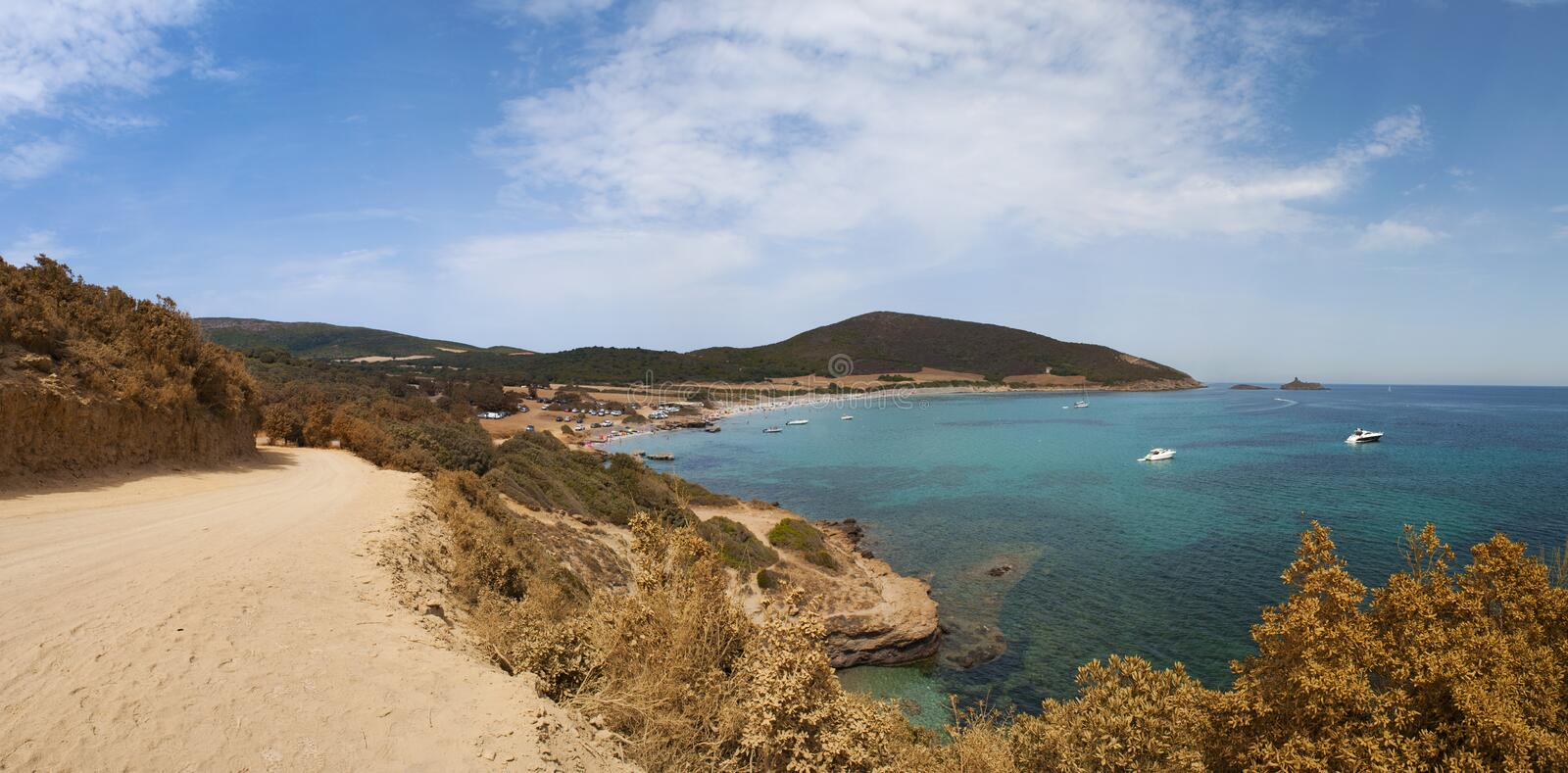 Corsica, Corse, Cap Corse, Upper Corse, France, Europe, island. Corsica, 28/08/2017: the dirt road to Plage de Tamarone, one of the most famous and wild beaches royalty free stock photo