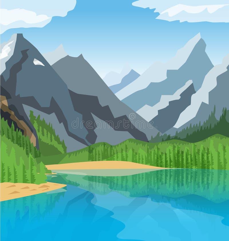 corsica góry creno de France lac jeziorne halne góry royalty ilustracja