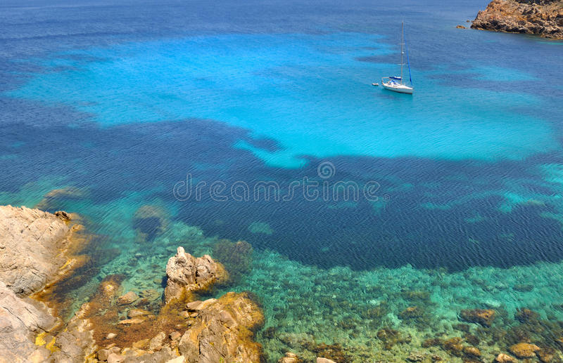 Corsica island. Beautiful blue sea with ship - Corsica stock images