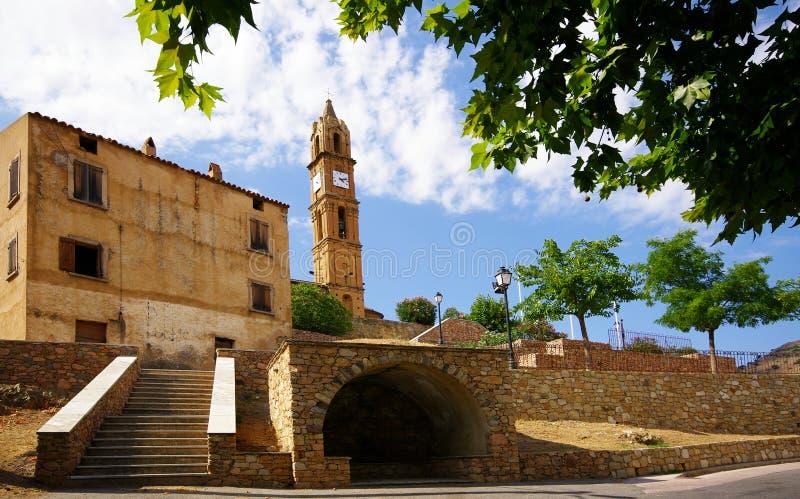 corsica kościelna wioska zdjęcie royalty free