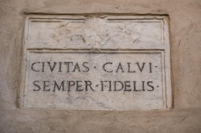Calvi, Citadel, ancient walls, skyline, Corsica, Corse, France, Europe, island. Corsica, 03/09/2017: latin inscription Semper fidelis Always faithful on the stock images