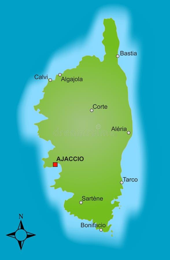 corsica mapa ilustracja wektor