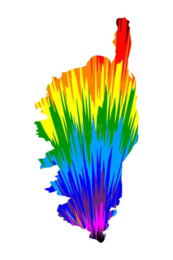 Corsica - mapa jest projektującym tęczy abstrakcjonistycznym kolorowym wzorem ilustracja wektor