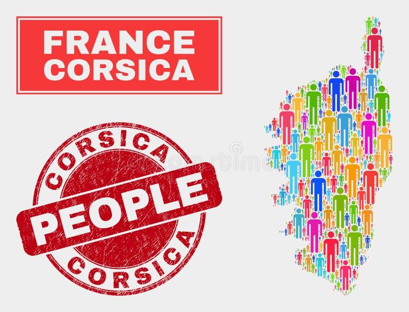 Corsica mapy populacji ludzie i Korodująca foka ilustracja wektor