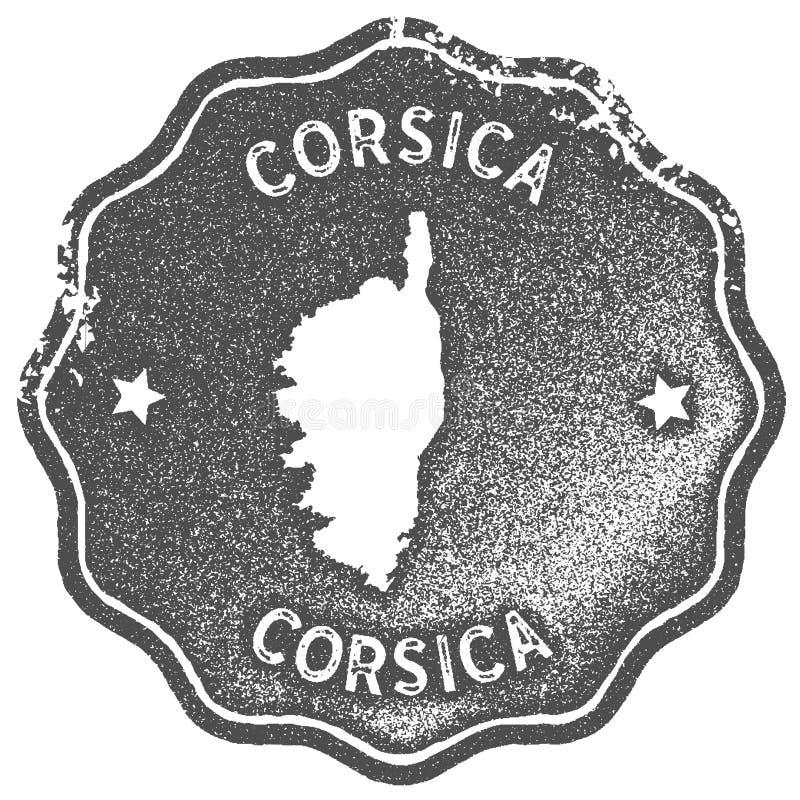 Corsica mapy rocznika znaczek ilustracji