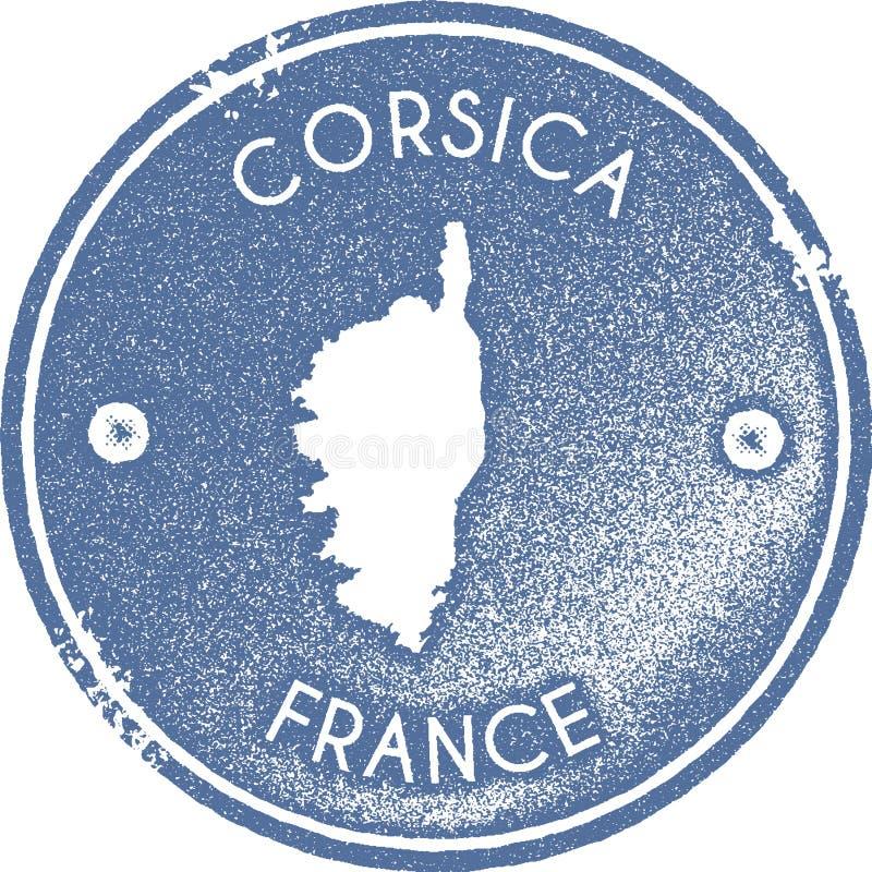 Corsica mapy rocznika znaczek ilustracja wektor
