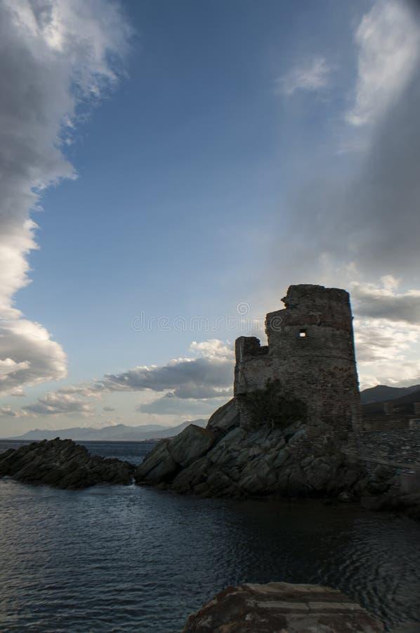 Erbalunga, Tour d'Erbalunga, tower, harbour, Genoese tower, Corsica, Cap Corse, Haute Corse, Upper Corse, France, Europe, island. Corsica, 02/09/2017 royalty free stock image
