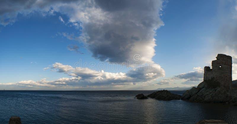 Erbalunga, Tour d'Erbalunga, tower, harbour, Genoese tower, Corsica, Cap Corse, Haute Corse, Upper Corse, France, Europe, island. Corsica, 02/09/2017 stock images