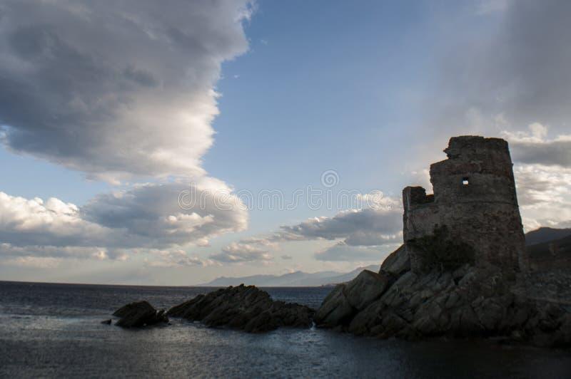 Erbalunga, Tour d'Erbalunga, tower, harbour, Genoese tower, Corsica, Cap Corse, Haute Corse, Upper Corse, France, Europe, island. Corsica, 02/09/2017 stock image