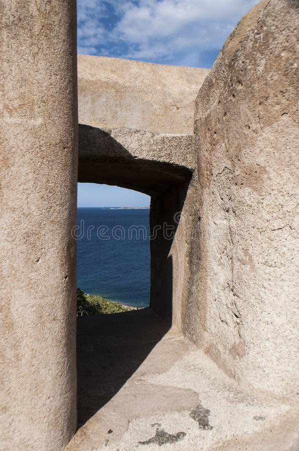 Calvi, Citadel, sea, ancient walls, skyline, Corsica, Corse, France, Europe, island. Corsica, 03/09/2017: the Mediterranean Sea and view of the architectural royalty free stock images