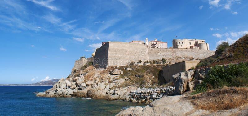 Calvi, Citadel, beach, ancient walls, marina, skyline, Corsica, Corse, France, Europe, island. Corsica, 03/09/2017: the Mediterranean Sea and view of the skyline royalty free stock photo