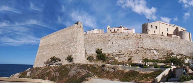 Calvi, Citadel, beach, ancient walls, marina, skyline, Corsica, Corse, France, Europe, island. Corsica, 03/09/2017: the Mediterranean Sea and view of the skyline royalty free stock photos