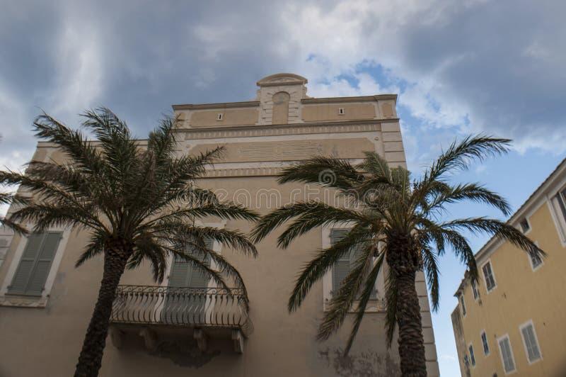 Erbalunga, fishing village, skyline, Corsica, Cap Corse, Haute Corse, Upper Corse, France, Europe, island. Corsica, 02/09/2017: palm trees in the skyline of royalty free stock photo