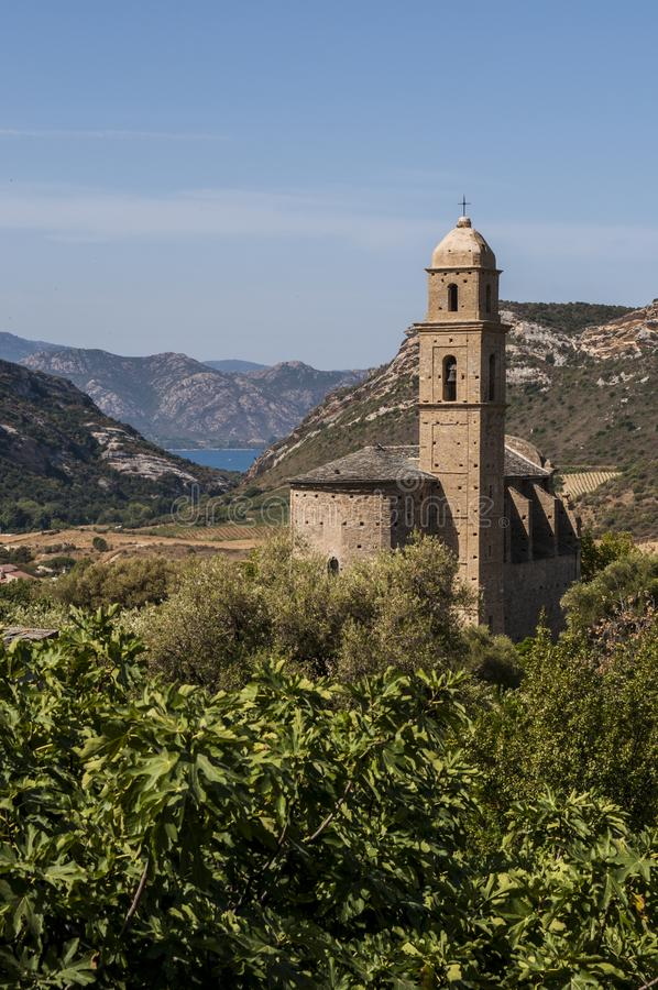 Patrimonio, Haute Corse, Corsica, Upper Corsica, France, Europe, island. Corsica, 28/08/2017: panoramic view of the 16th century Church of Saint Martin in royalty free stock photos