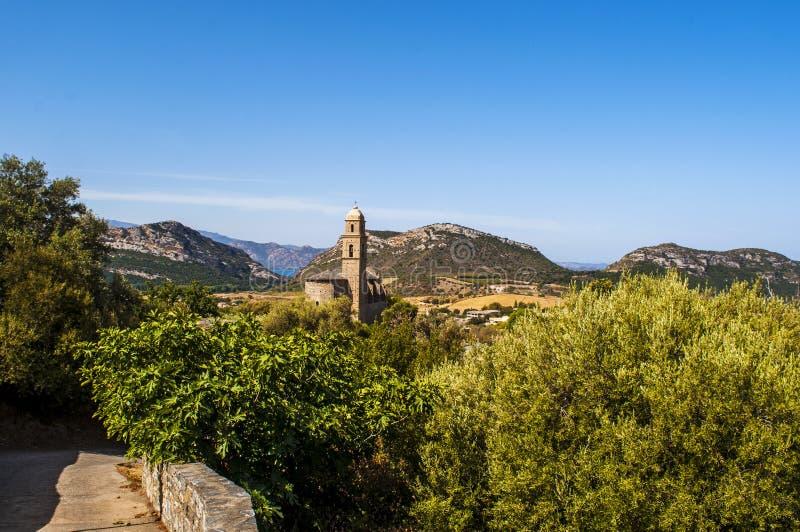 Patrimonio, Haute Corse, Corsica, Upper Corsica, France, Europe, island. Corsica, 28/08/2017: panoramic view of the 16th century Church of Saint Martin in royalty free stock photography