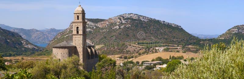 Patrimonio, Haute Corse, Corsica, Upper Corsica, France, Europe, island. Corsica, 28/08/2017: panoramic view of the 16th century Church of Saint Martin in stock photos