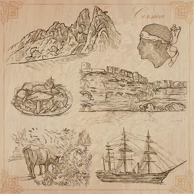 Corsica, podróż - Wręcza patroszoną wektor paczkę royalty ilustracja