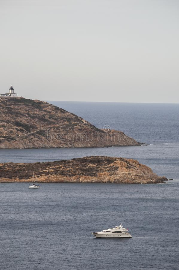 Calvi, Revellata lighthouse, beach, Pointe De La Revellata, skyline, Corsica, Haute Corse, France, Europe, island. Corsica, 03/09/2017: Pointe De La Revellata royalty free stock photography