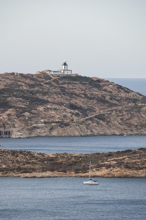 Calvi, Revellata lighthouse, beach, Pointe De La Revellata, skyline, Corsica, Haute Corse, France, Europe, island. Corsica, 03/09/2017: Pointe De La Revellata stock photography