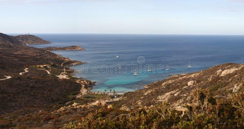 Calvi, Revellata lighthouse, beach, Pointe De La Revellata, skyline, Corsica, Haute Corse, France, Europe, island. Corsica, 03/09/2017: Pointe De La Revellata stock image