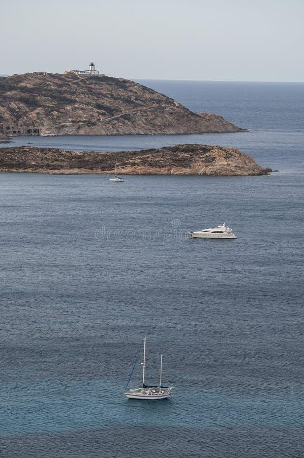 Calvi, Revellata lighthouse, beach, Pointe De La Revellata, skyline, Corsica, Haute Corse, France, Europe, island. Corsica, 03/09/2017: Pointe De La Revellata royalty free stock photos