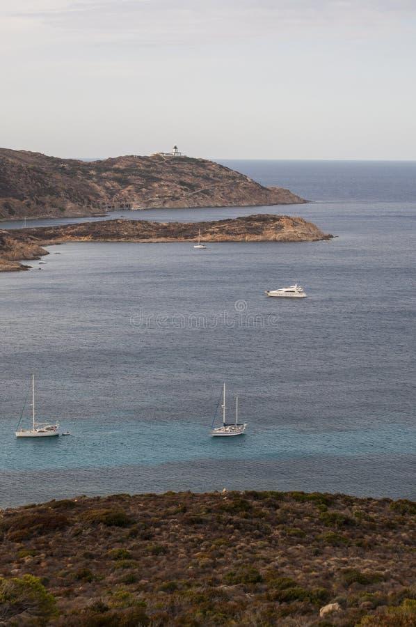 Calvi, Revellata lighthouse, beach, Pointe De La Revellata, skyline, Corsica, Haute Corse, France, Europe, island. Corsica, 03/09/2017: Pointe De La Revellata royalty free stock photo