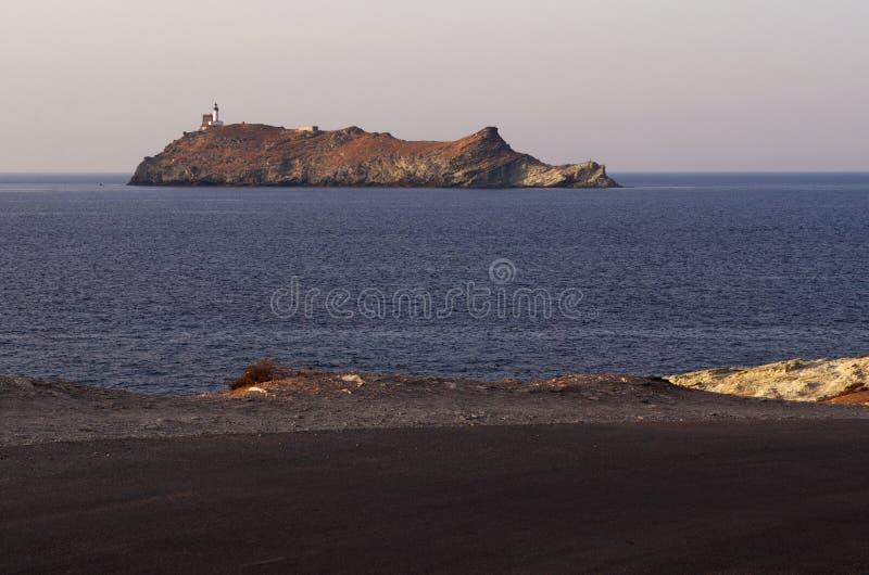 Ile de la Giraglia, Giraglia island, lighthouse, Barcaggio, Ersa, Cap Corse, Cape Corse, Haute-Corse, Corsica, France, Europe. Corsica, 29/08/2017: the road to stock photos