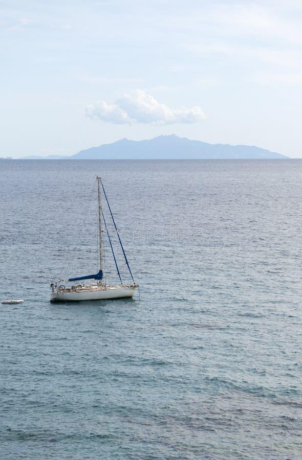 Capraia, sailboat, Corsica, Corse, Cap Corse, Upper Corse, France, Europe, island, summer, royalty free stock photography