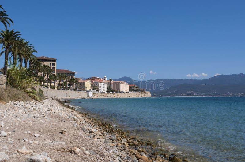 Ajaccio, beach, Corsica, Corse du Sud, Southern Corsica, France, Europe. Corsica, 01/09/2017: the skyline of Ajaccio, the famous city on the west coast of the stock photos