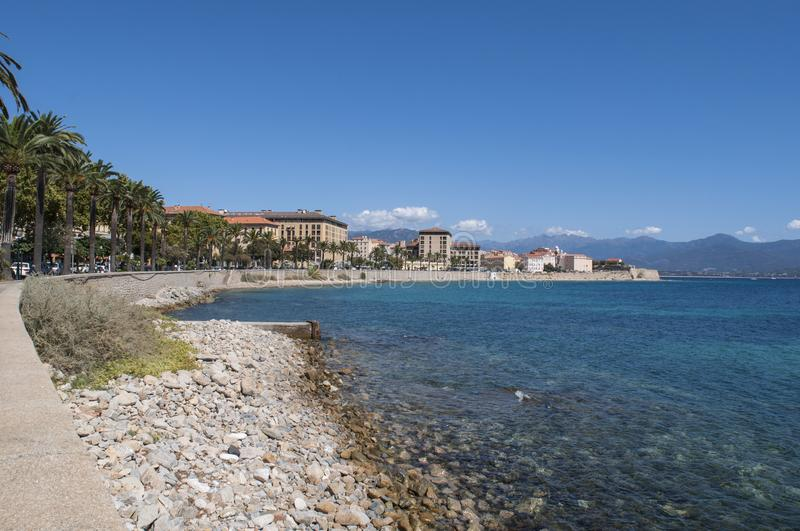 Ajaccio, beach, Corsica, Corse du Sud, Southern Corsica, France, Europe. Corsica, 01/09/2017: the skyline of Ajaccio, the famous city on the west coast of the stock images