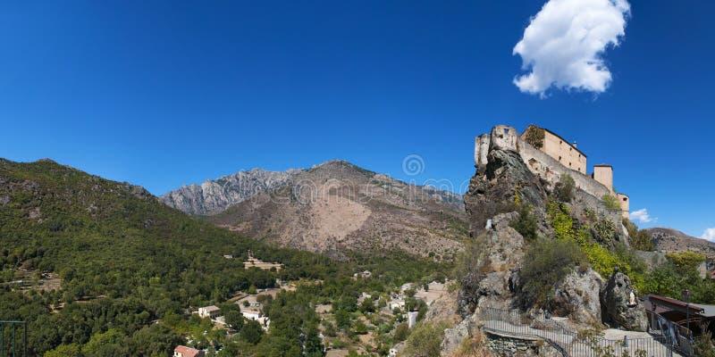 Corte, Citadel, perched, Corsica, Corse, Cap Corse, Upper Corse, France, Europe. Corsica, 31/08/2017: skyline and panoramic view of the perched Citadel of Corte stock photos