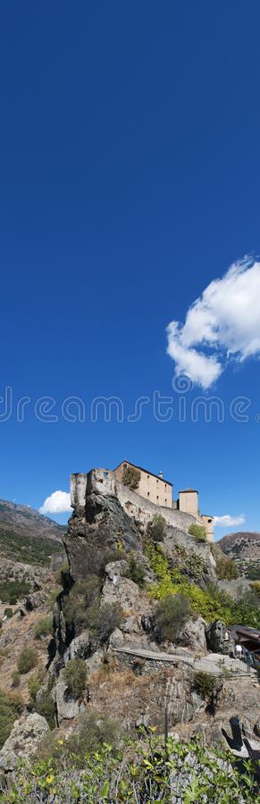 Corte, Citadel, perched, Corsica, Corse, Cap Corse, Upper Corse, France, Europe. Corsica, 31/08/2017: skyline and panoramic view of the perched Citadel of Corte royalty free stock photography