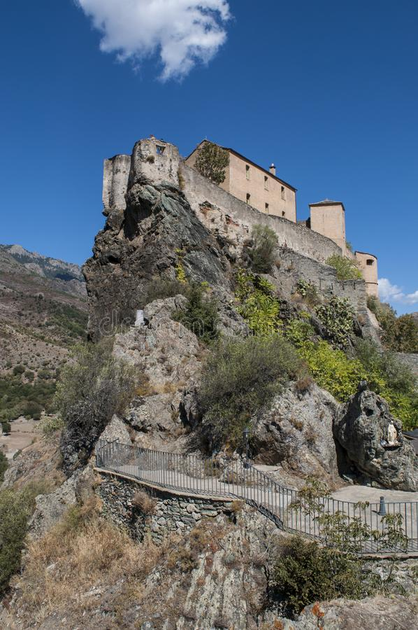 Corte, Citadel, perched, Corsica, Corse, Cap Corse, Upper Corse, France, Europe. Corsica, 31/08/2017: skyline and panoramic view of the perched Citadel of Corte stock photography