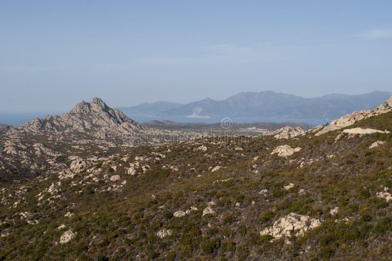 Corsica, wild landscape, Cap Corse, Haute Corse, Upper Corse, France, Europe. Corsica, 30/08/2017: the skyline and wild landscape of the Haute-Corse with royalty free stock photo
