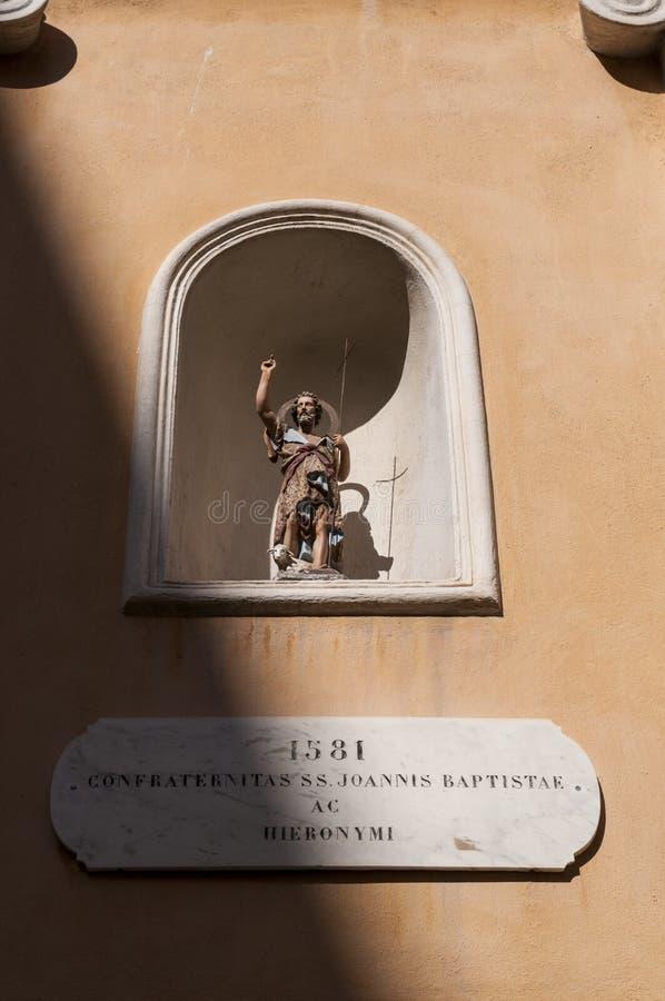 Ajaccio, Church of Saint John the Baptiste, Corsica, Corse du Sud, Southern Corsica, France, Europe. Corsica, 01/09/2017: the statue of Saint John the Baptiste stock photos