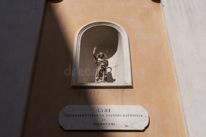 Ajaccio, Church of Saint John the Baptiste, Corsica, Corse du Sud, Southern Corsica, France, Europe. Corsica, 01/09/2017: the statue of Saint John the Baptiste stock image