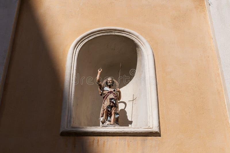Ajaccio, Church of Saint John the Baptiste, Corsica, Corse du Sud, Southern Corsica, France, Europe. Corsica, 01/09/2017: the statue of Saint John the Baptiste royalty free stock images