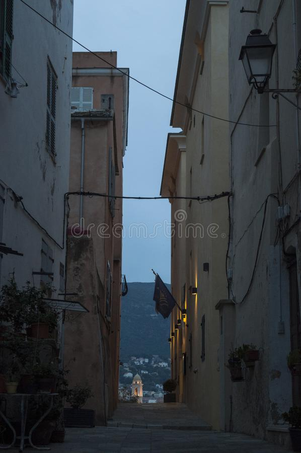 Bastia, Corsica, Cap Corse, skyline, alley, street, architecture, details, city life, daily life. Corsica, 03/09/2017: the streets and alleys of the old Citadel stock photo