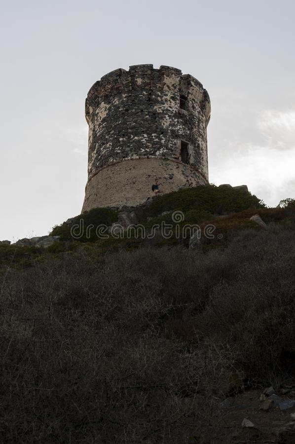 Iles Sanguinaires, Gulf of Ajaccio, Corsica, Corse, France, Europe, island. Corsica, 01/09/2017: sunset on La Parata Tower, a ruined Genoese tower built in 1608 royalty free stock photography