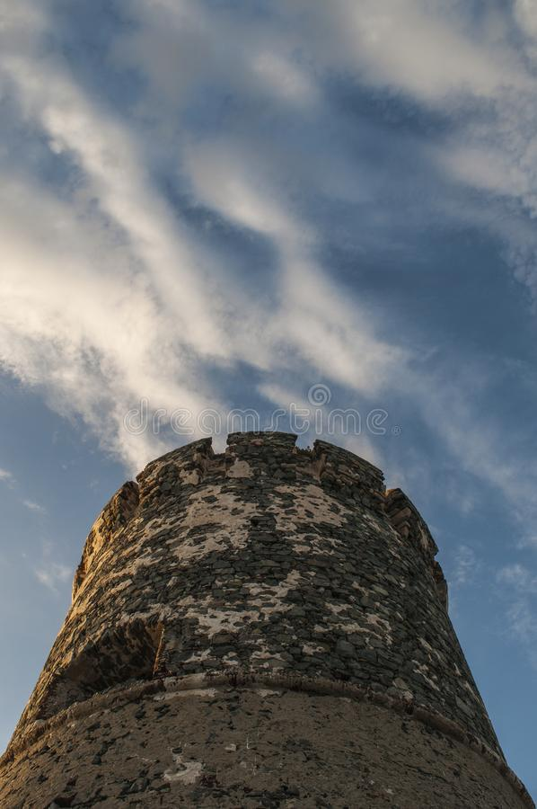 Iles Sanguinaires, Gulf of Ajaccio, Corsica, Corse, France, Europe, island. Corsica, 01/09/2017: sunset on La Parata Tower, a ruined Genoese tower built in 1608 royalty free stock image