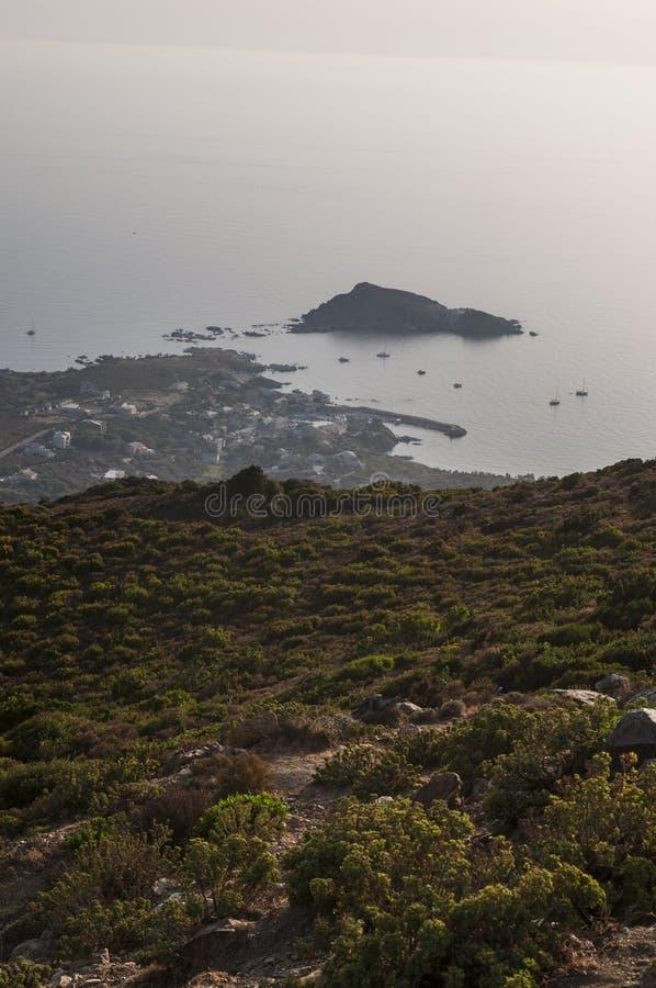 Col de la Sierra, Haute Corse, Cape Corse, Corsica, Upper Corsica, France, Europe, island. Corsica, 28/08/2017: sunset at the northwestern end of Cap Corse on royalty free stock images