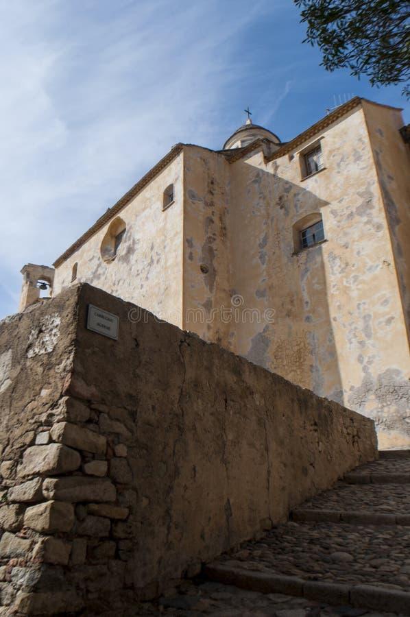 Calvi, Citadel, cathedral, ancient walls, skyline, Corsica, Corse, France, Europe, island. Corsica, 03/09/2017: view of the Calvi Cathedral, dedicated to Saint stock photos
