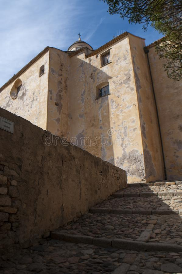 Calvi, Citadel, cathedral, ancient walls, skyline, Corsica, Corse, France, Europe, island. Corsica, 03/09/2017: view of the Calvi Cathedral, dedicated to Saint stock images